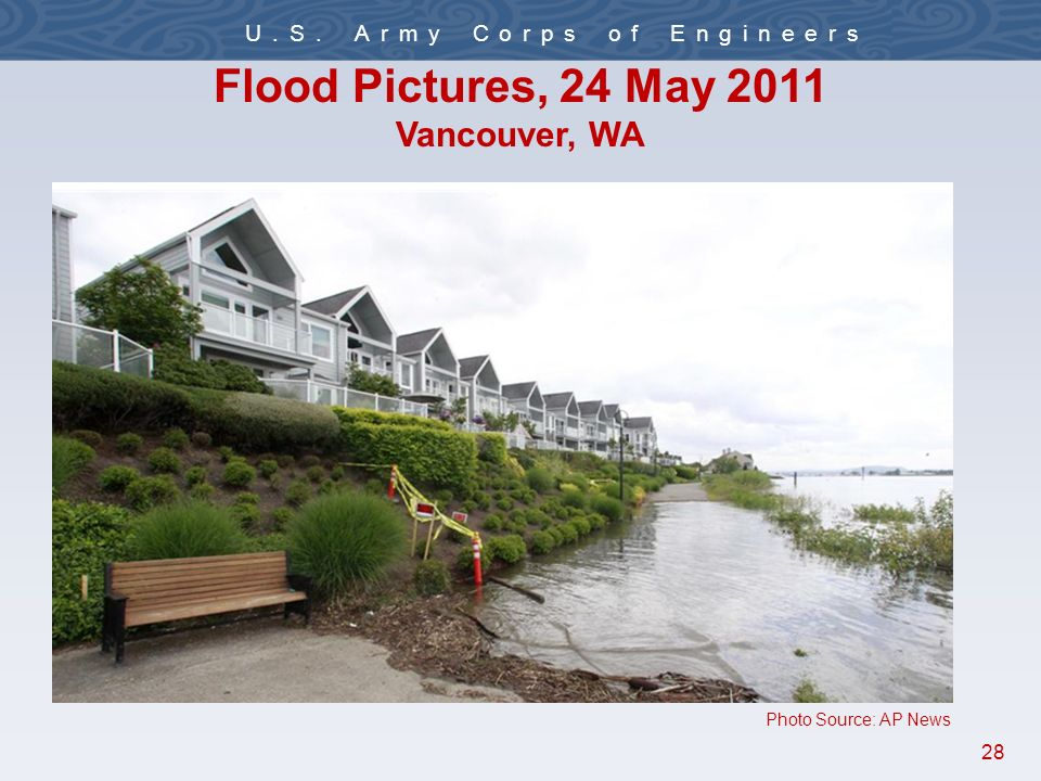 28 U.S. Army Corps of Engineers Flood Pictures, 24 May 2011 Vancouver, WA Photo Source: AP News