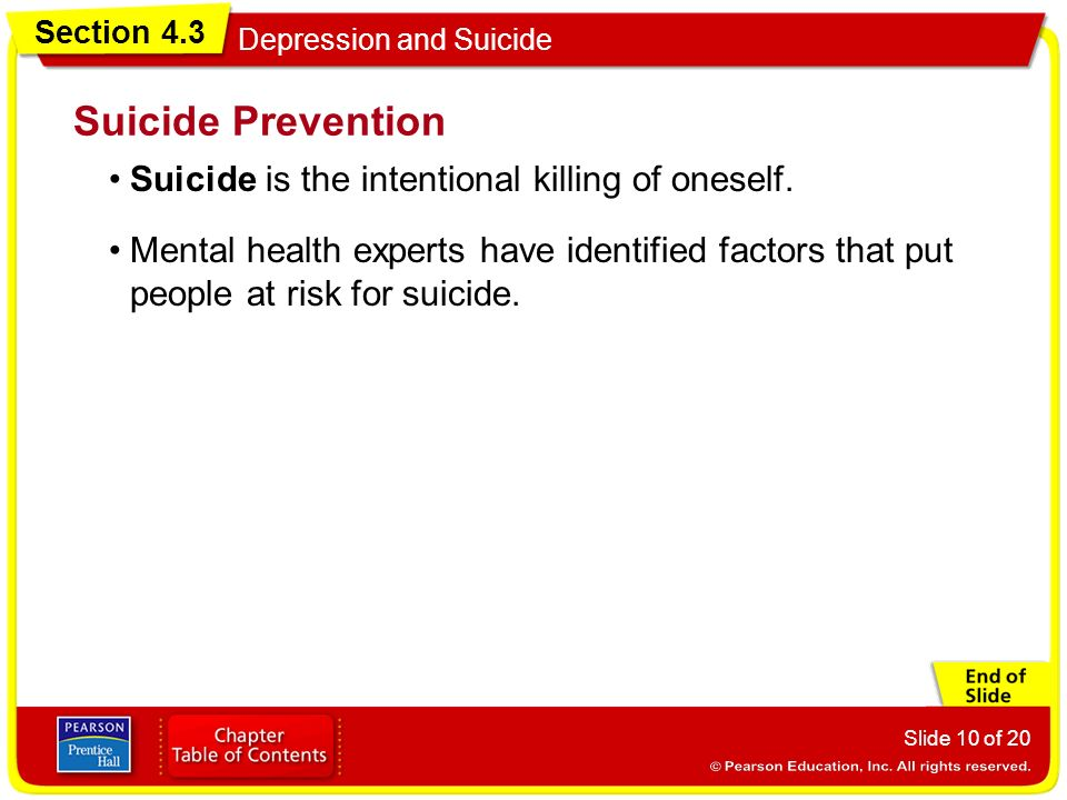 Section 4.3 Depression and Suicide Slide 10 of 20 Suicide is the intentional killing of oneself.