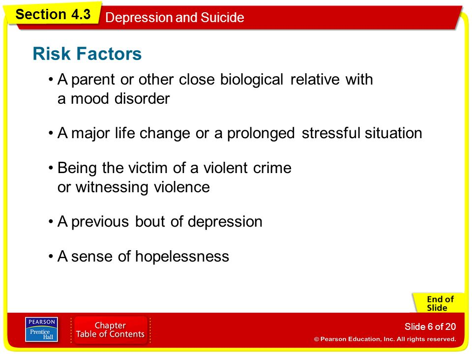 Section 4.3 Depression and Suicide Slide 6 of 20 A parent or other close biological relative with a mood disorder Risk Factors A major life change or a prolonged stressful situation Being the victim of a violent crime or witnessing violence A previous bout of depression A sense of hopelessness