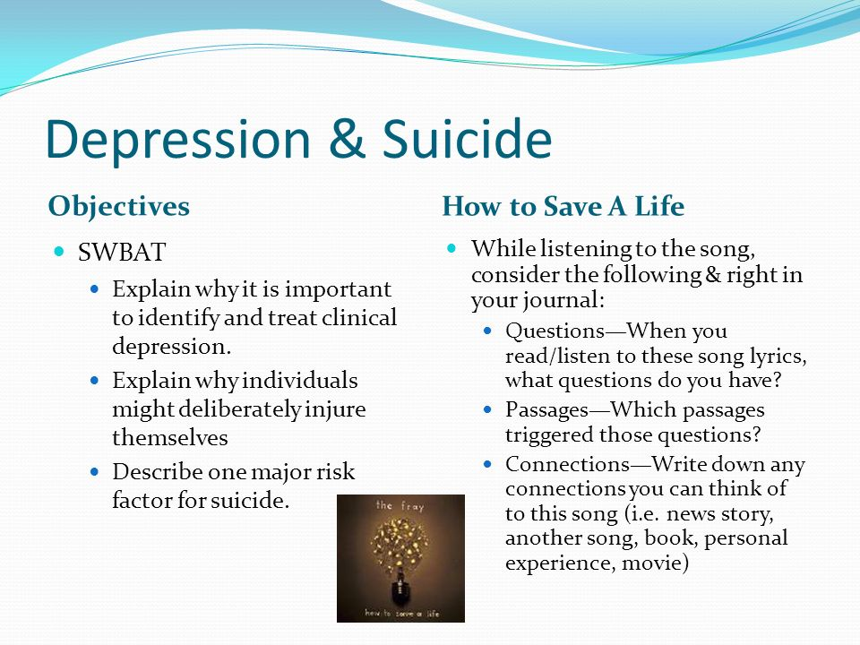suicide depression essay Depression leading to suicide essay 1127 words 5 pages one who suffers from depression may think about and or attempt suicide because of the extreme emotional pain and hopelessness they feel.