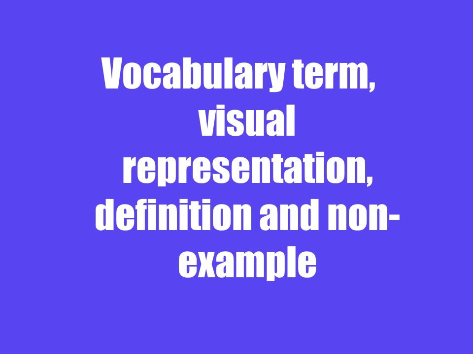 Vocabulary term, visual representation, definition and non- example