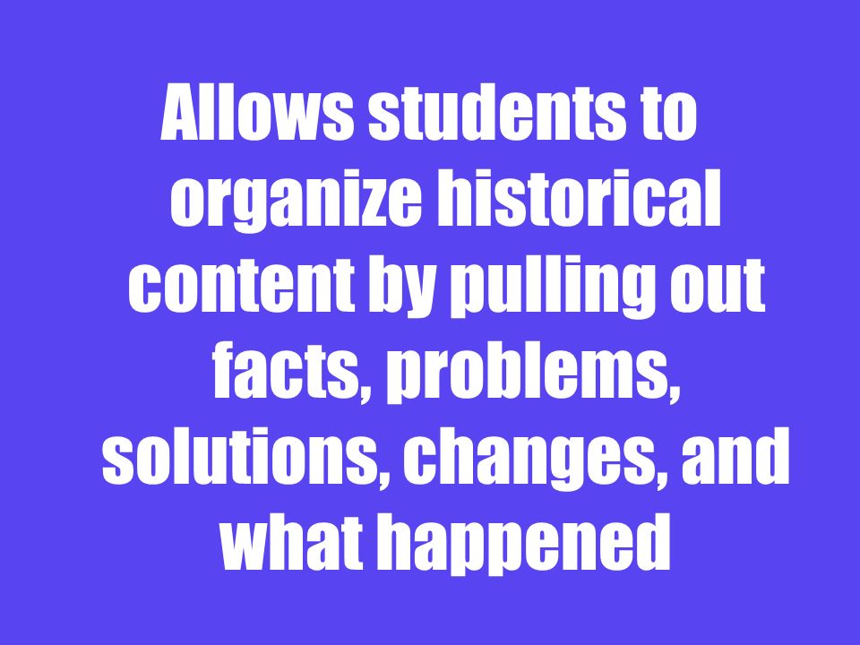 Allows students to organize historical content by pulling out facts, problems, solutions, changes, and what happened
