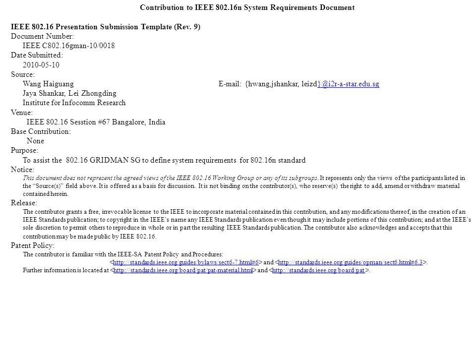 Contribution to IEEE n System Requirements Document IEEE ...