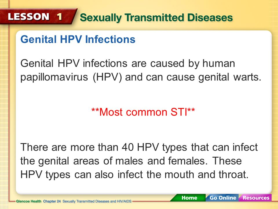 Common STDs There are approximately 25 different STDs, six of which are considered the most common: Genital HPV infections, chlamydia, genital herpes, gonorrhea, trichomoniasis, and syphilis