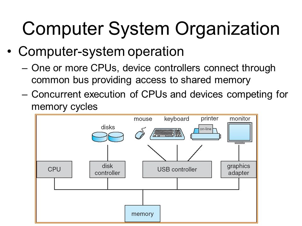 Computer System Organization Computer-system operation –One or more CPUs, device controllers connect through common bus providing access to shared memory –Concurrent execution of CPUs and devices competing for memory cycles