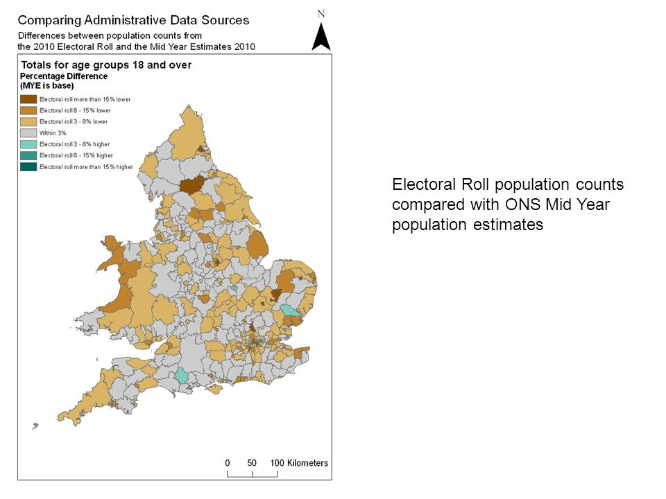 Electoral Roll population counts compared with ONS Mid Year population estimates