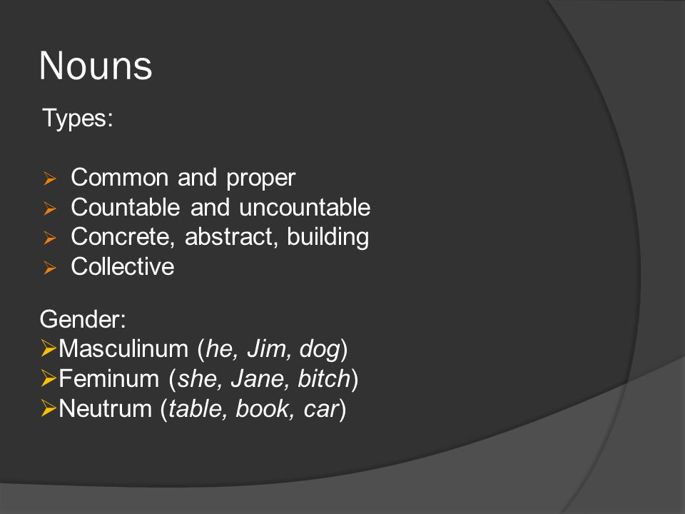 Nouns Types:  Common and proper  Countable and uncountable  Concrete, abstract, building  Collective Gender:  Masculinum (he, Jim, dog)  Feminum (she, Jane, bitch)  Neutrum (table, book, car)