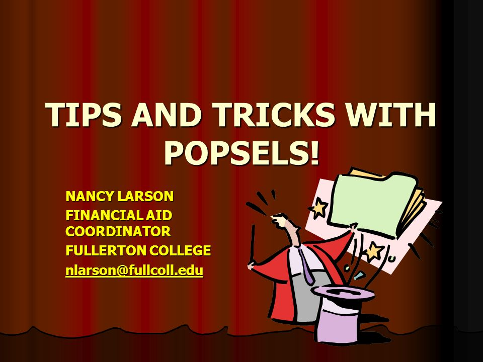 Fullerton College Financial Aid >> Tips And Tricks With Popsels Nancy Larson Financial Aid