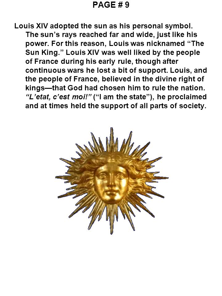 Page 1 In 1643 Louis Xiv Became King Of France He Ruled For 72