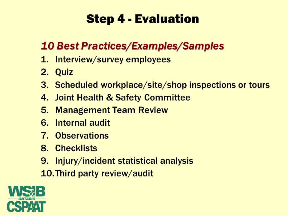 "STEP 4 – EVALUATION ""Are we doing what we said we would do"