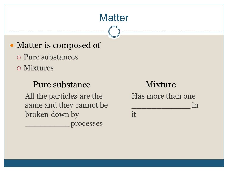 Matter Matter is composed of  Pure substances  Mixtures Pure substance All the particles are the same and they cannot be broken down by _________ processes Mixture Has more than one ____________ in it