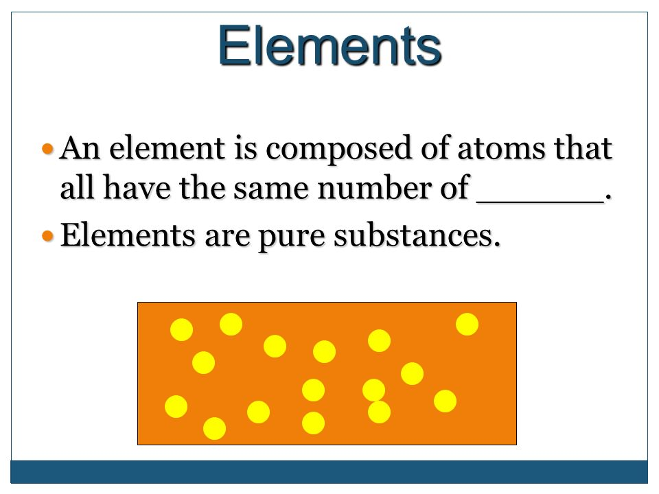Elements An element is composed of atoms that all have the same number of ______.
