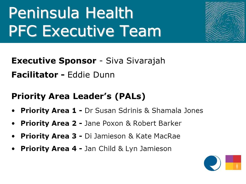 Peninsula Health PFC Executive Team Executive Sponsor - Siva Sivarajah Facilitator - Eddie Dunn Priority Area Leader's (PALs) Priority Area 1 - Dr Susan Sdrinis & Shamala Jones Priority Area 2 - Jane Poxon & Robert Barker Priority Area 3 - Di Jamieson & Kate MacRae Priority Area 4 - Jan Child & Lyn Jamieson