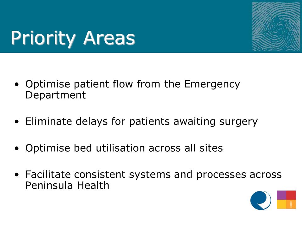 Priority Areas Optimise patient flow from the Emergency Department Eliminate delays for patients awaiting surgery Optimise bed utilisation across all sites Facilitate consistent systems and processes across Peninsula Health