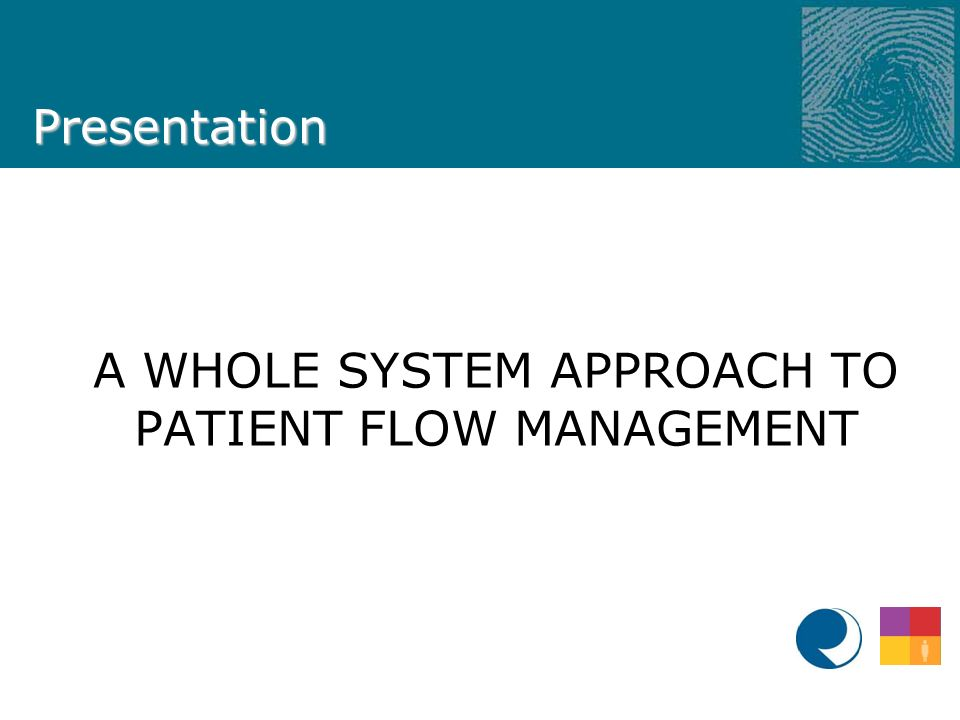 Presentation A WHOLE SYSTEM APPROACH TO PATIENT FLOW MANAGEMENT