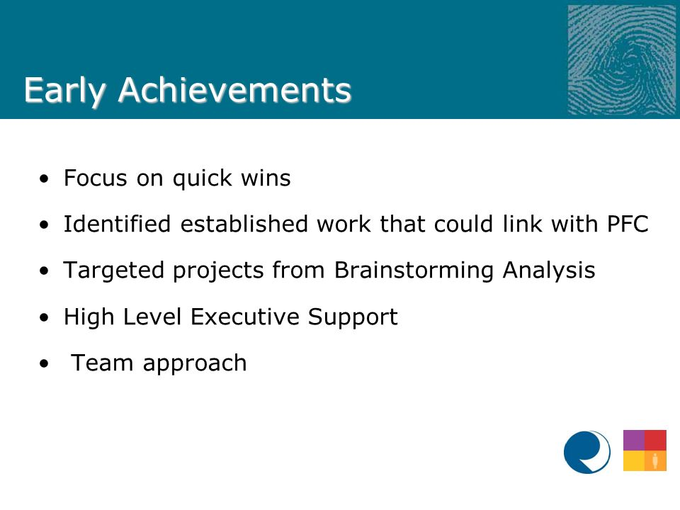 Early Achievements Focus on quick wins Identified established work that could link with PFC Targeted projects from Brainstorming Analysis High Level Executive Support Team approach