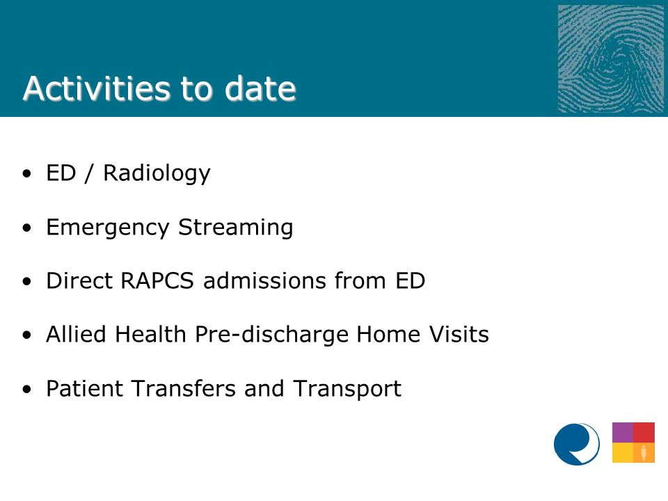 Activities to date ED / Radiology Emergency Streaming Direct RAPCS admissions from ED Allied Health Pre-discharge Home Visits Patient Transfers and Transport