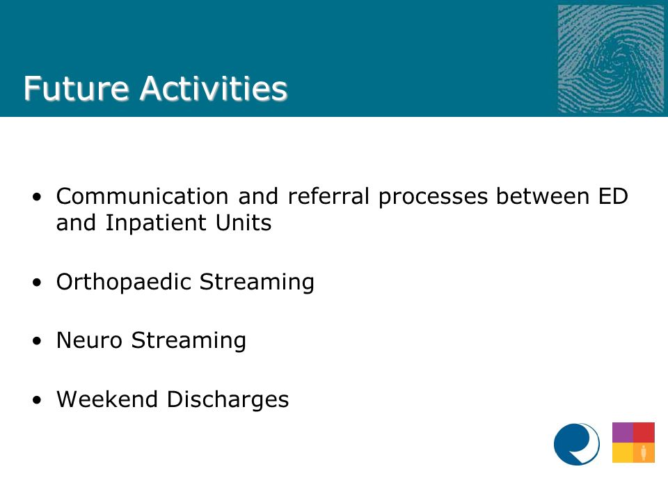 Future Activities Communication and referral processes between ED and Inpatient Units Orthopaedic Streaming Neuro Streaming Weekend Discharges