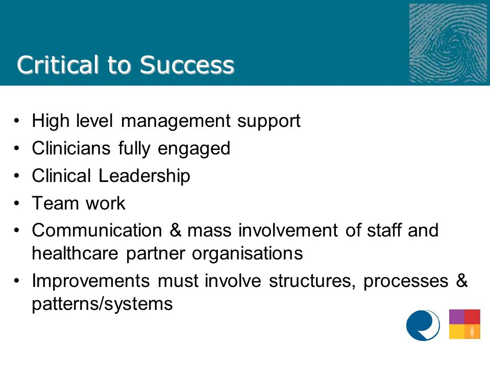 Critical to Success High level management support Clinicians fully engaged Clinical Leadership Team work Communication & mass involvement of staff and healthcare partner organisations Improvements must involve structures, processes & patterns/systems