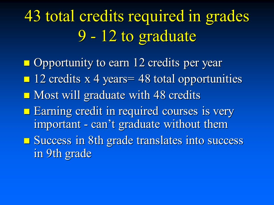 43 total credits required in grades to graduate Opportunity to earn 12 credits per year Opportunity to earn 12 credits per year 12 credits x 4 years= 48 total opportunities 12 credits x 4 years= 48 total opportunities Most will graduate with 48 credits Most will graduate with 48 credits Earning credit in required courses is very important - can't graduate without them Earning credit in required courses is very important - can't graduate without them Success in 8th grade translates into success in 9th grade Success in 8th grade translates into success in 9th grade