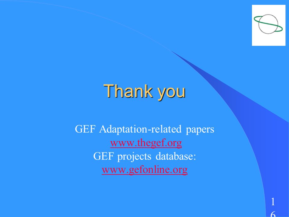 1616 Thank you GEF Adaptation-related papers   GEF projects database: