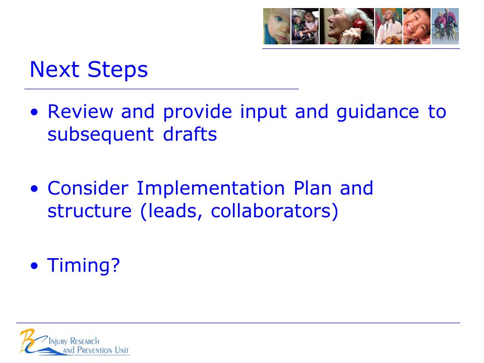 Next Steps Review and provide input and guidance to subsequent drafts Consider Implementation Plan and structure (leads, collaborators) Timing