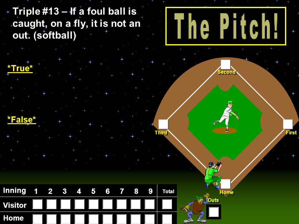 Visitor Home Inning Total Home First Third Second Outs Triple #12 Triple #12 -A ball that hits the ground multiple times in the infield is called a ________.