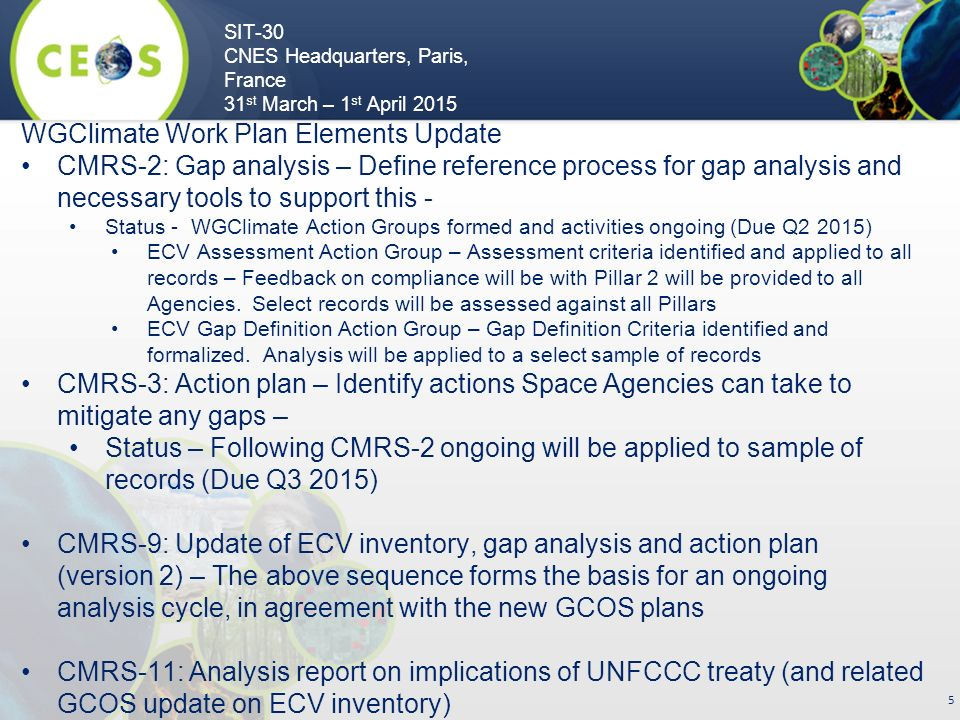 SIT-30 CNES Headquarters, Paris, France 31 st March – 1 st April WGClimate Work Plan Elements Update CMRS-2: Gap analysis – Define reference process for gap analysis and necessary tools to support this - Status - WGClimate Action Groups formed and activities ongoing (Due Q2 2015) ECV Assessment Action Group – Assessment criteria identified and applied to all records – Feedback on compliance will be with Pillar 2 will be provided to all Agencies.