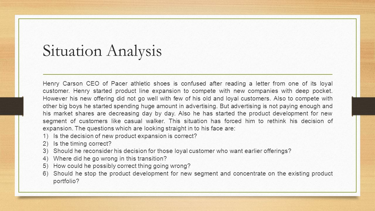 When new product and customer loyalty collide case analysis by raj situation analysis henry carson ceo of pacer athletic shoes is confused after reading a letter from spiritdancerdesigns Choice Image