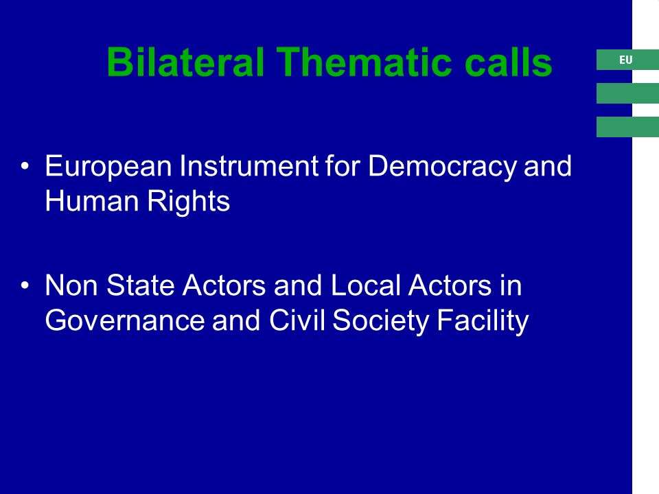 EU Bilateral Thematic calls European Instrument for Democracy and Human Rights Non State Actors and Local Actors in Governance and Civil Society Facility