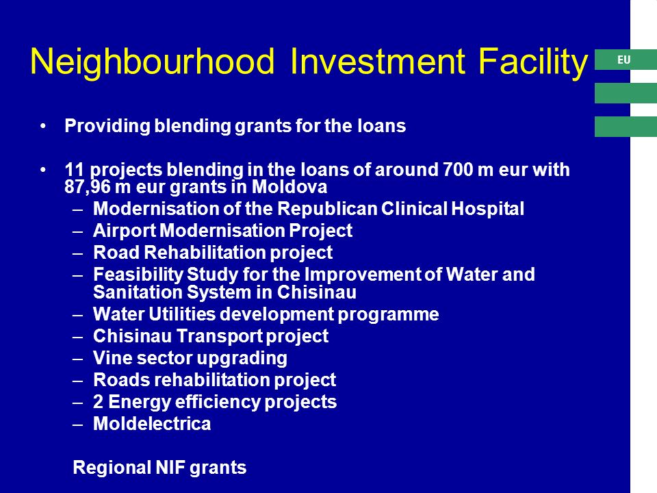 EU Neighbourhood Investment Facility Providing blending grants for the loans 11 projects blending in the loans of around 700 m eur with 87,96 m eur grants in Moldova –Modernisation of the Republican Clinical Hospital –Airport Modernisation Project –Road Rehabilitation project –Feasibility Study for the Improvement of Water and Sanitation System in Chisinau –Water Utilities development programme –Chisinau Transport project –Vine sector upgrading –Roads rehabilitation project –2 Energy efficiency projects –Moldelectrica Regional NIF grants