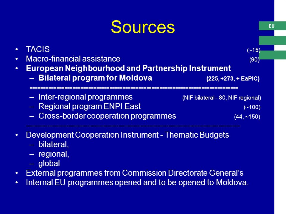 EU Sources TACIS (~15) Macro-financial assistance (90) European Neighbourhood and Partnership Instrument –Bilateral program for Moldova (225, +273, + EaPIC) –Inter-regional programmes (NIF bilateral - 80, NIF regional) –Regional program ENPI East (~100) –Cross-border cooperation programmes (44, ~150) Development Cooperation Instrument - Thematic Budgets –bilateral, –regional, –global External programmes from Commission Directorate General's Internal EU programmes opened and to be opened to Moldova.