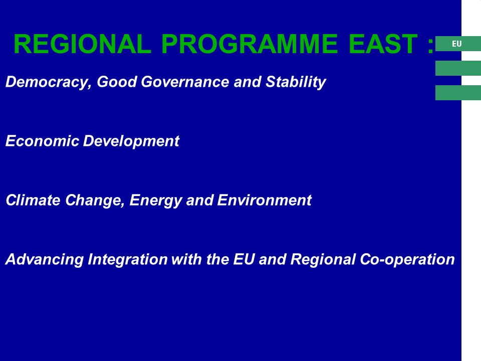 EU Democracy, Good Governance and Stability Economic Development Climate Change, Energy and Environment Advancing Integration with the EU and Regional Co-operation REGIONAL PROGRAMME EAST :