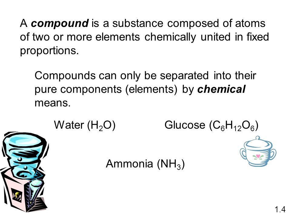 A compound is a substance composed of atoms of two or more elements chemically united in fixed proportions.