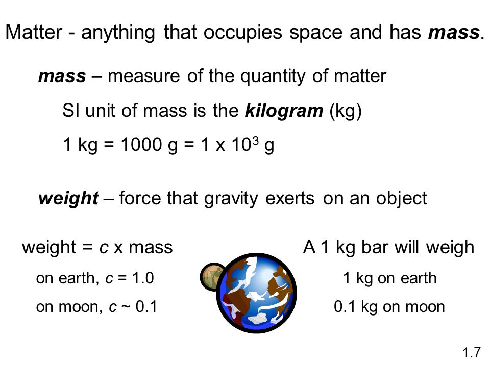 Matter - anything that occupies space and has mass.