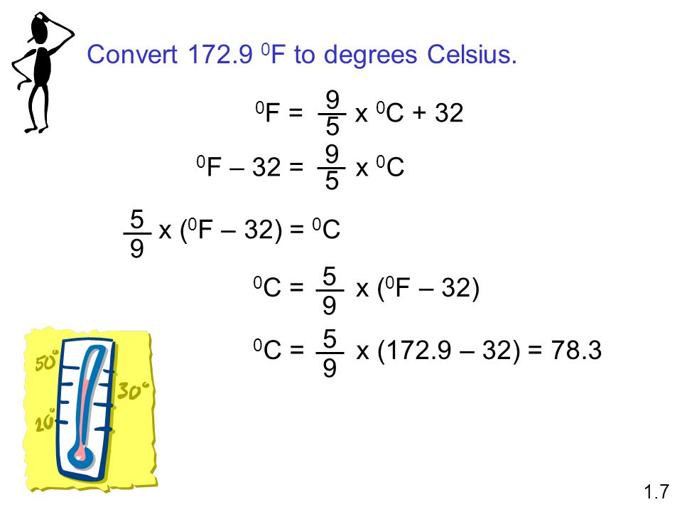 Convert F to degrees Celsius.
