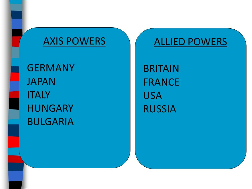 AXIS POWERS GERMANY JAPAN ITALY HUNGARY BULGARIA ALLIED POWERS BRITAIN FRANCE USA RUSSIA