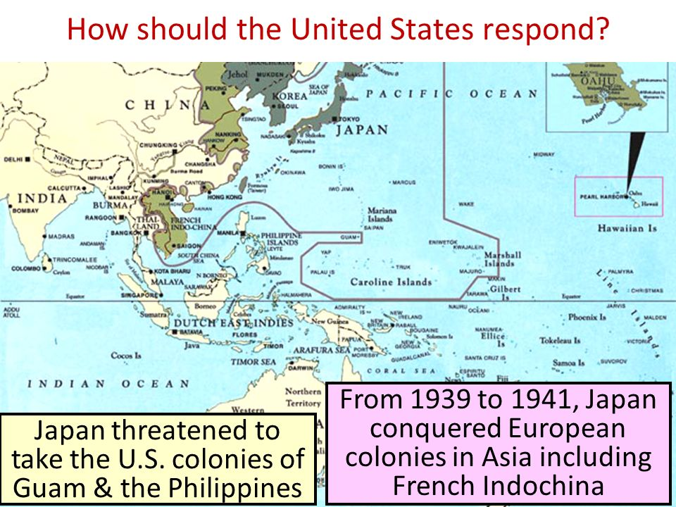 From 1939 to 1941, Japan conquered European colonies in Asia including French Indochina Japan threatened to take the U.S.