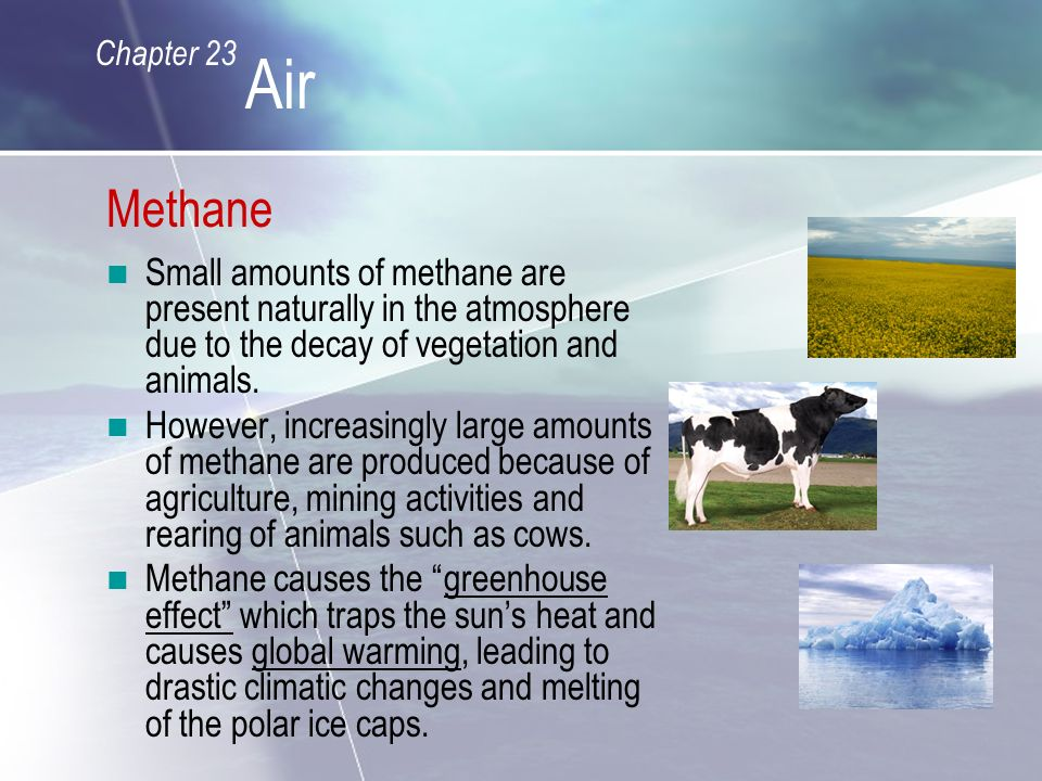 Methane Small amounts of methane are present naturally in the atmosphere due to the decay of vegetation and animals.
