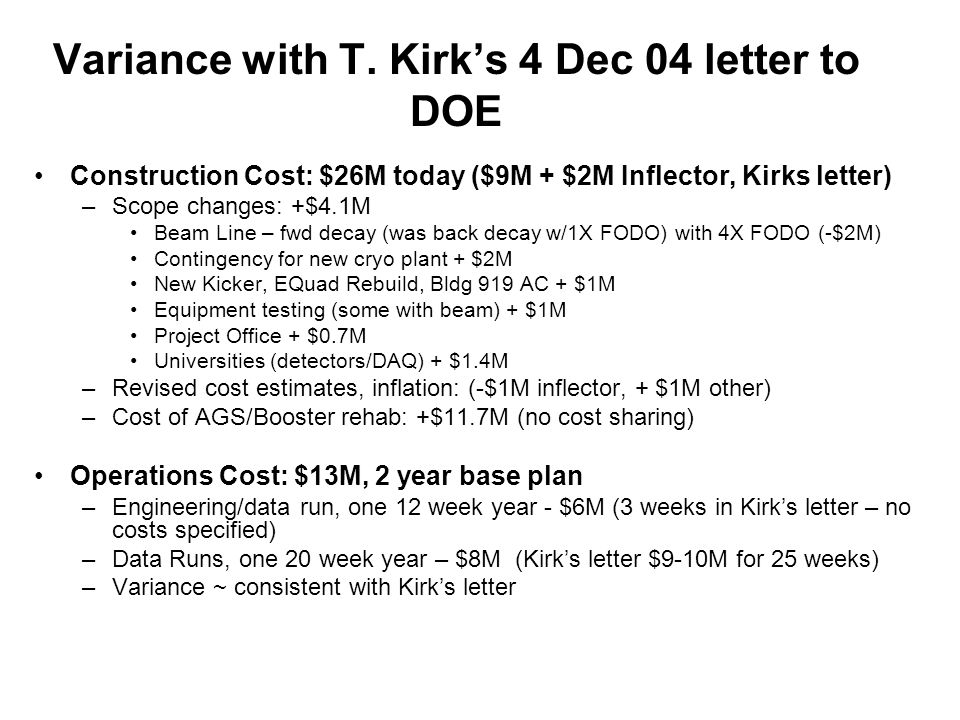 T Kirk S 4 Dec 04 Letter To DOE Construction Cost 11M Beam