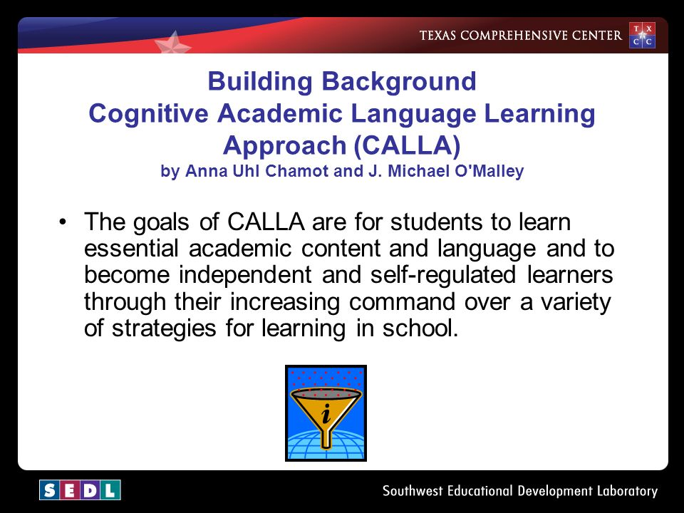 Building Background Cognitive Academic Language Learning Approach (CALLA) by Anna Uhl Chamot and J.