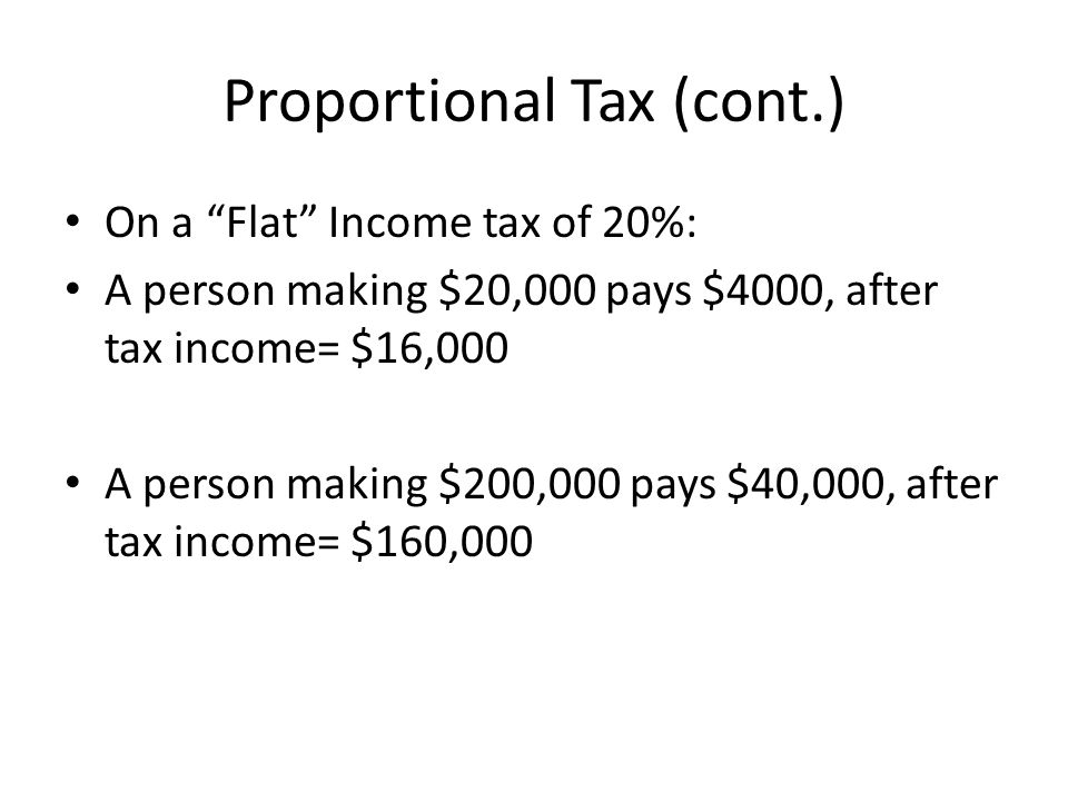 Proportional Tax (cont.) On a Flat Income tax of 20%: A person making $20,000 pays $4000, after tax income= $16,000 A person making $200,000 pays $40,000, after tax income= $160,000