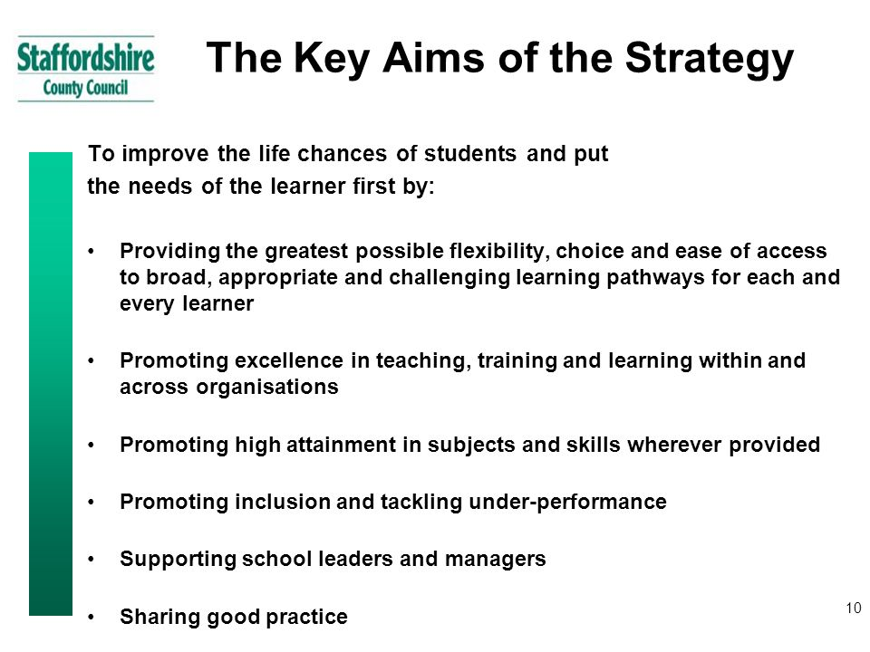 10 The Key Aims of the Strategy To improve the life chances of students and put the needs of the learner first by: Providing the greatest possible flexibility, choice and ease of access to broad, appropriate and challenging learning pathways for each and every learner Promoting excellence in teaching, training and learning within and across organisations Promoting high attainment in subjects and skills wherever provided Promoting inclusion and tackling under-performance Supporting school leaders and managers Sharing good practice