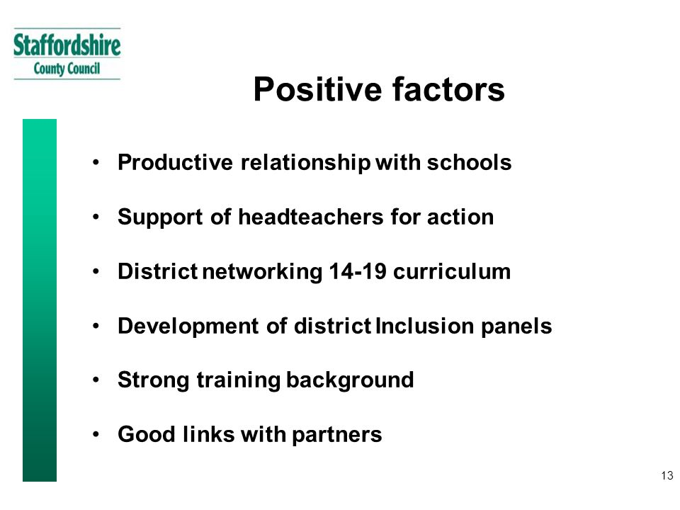13 Positive factors Productive relationship with schools Support of headteachers for action District networking curriculum Development of district Inclusion panels Strong training background Good links with partners