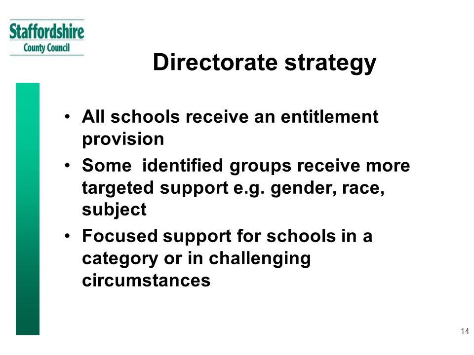 14 Directorate strategy All schools receive an entitlement provision Some identified groups receive more targeted support e.g.
