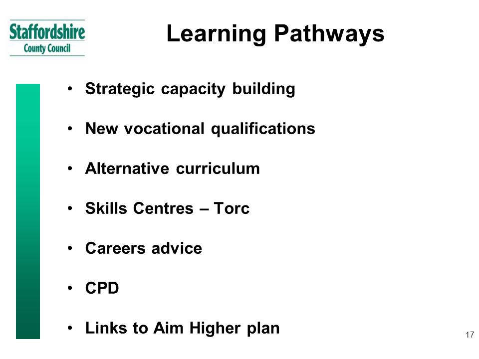 17 Learning Pathways Strategic capacity building New vocational qualifications Alternative curriculum Skills Centres – Torc Careers advice CPD Links to Aim Higher plan
