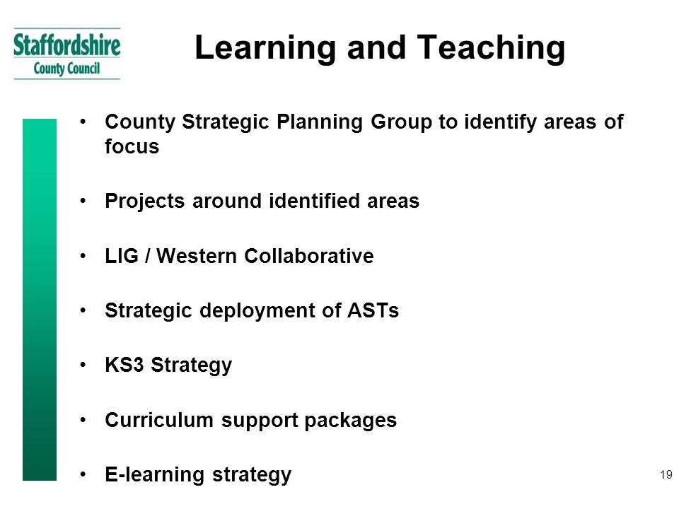 19 Learning and Teaching County Strategic Planning Group to identify areas of focus Projects around identified areas LIG / Western Collaborative Strategic deployment of ASTs KS3 Strategy Curriculum support packages E-learning strategy