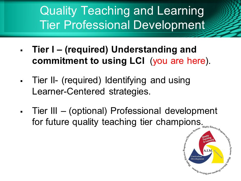 Notes To Facilitator Learner Centered Instruction Tier I