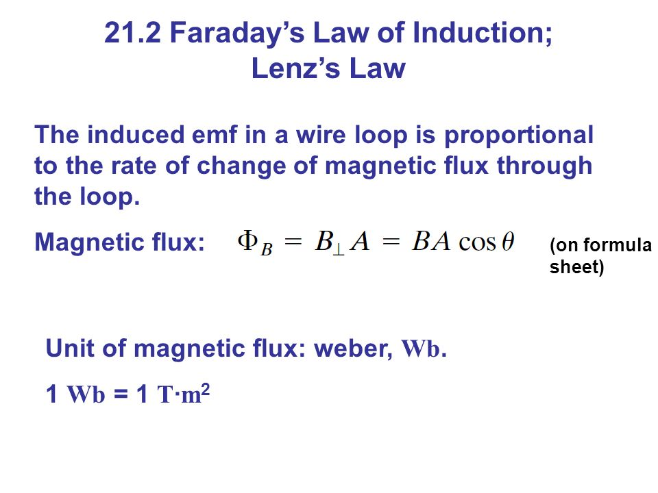 21.2 Faraday's Law of Induction; Lenz's Law The induced emf in a wire loop is proportional to the rate of change of magnetic flux through the loop.