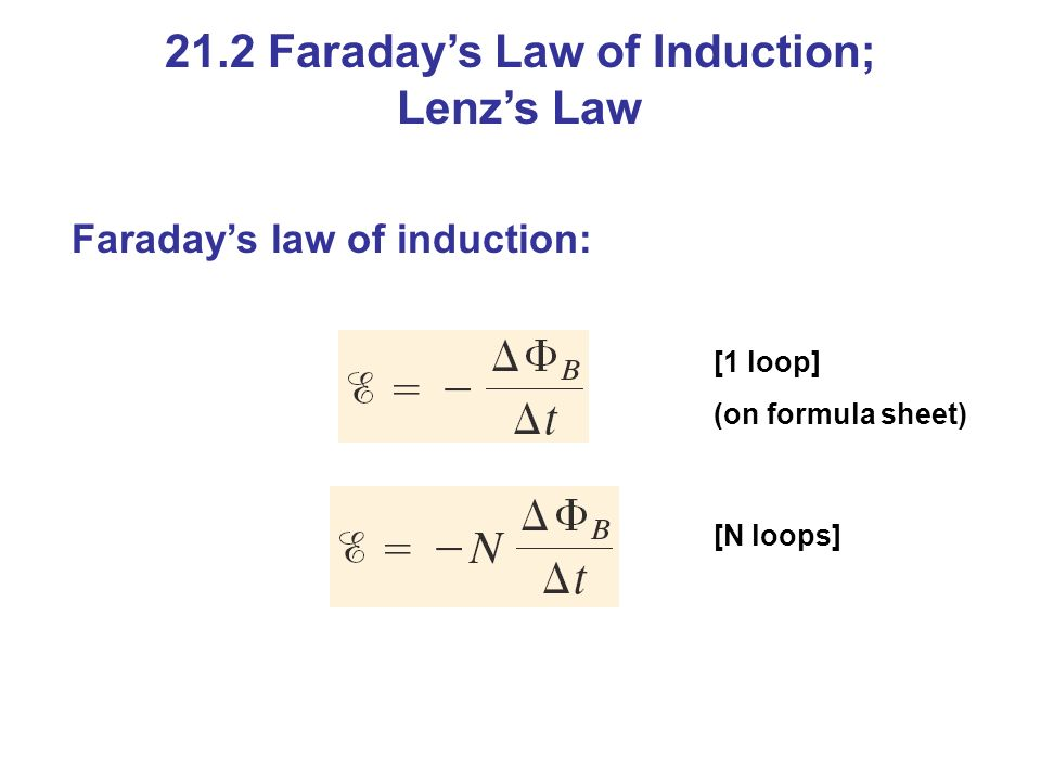 Faraday's law of induction: [1 loop] (on formula sheet) [N loops] 21.2 Faraday's Law of Induction; Lenz's Law